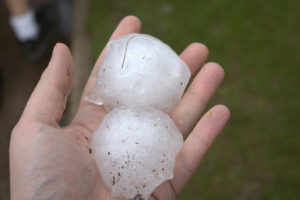 Hail stones damages roof